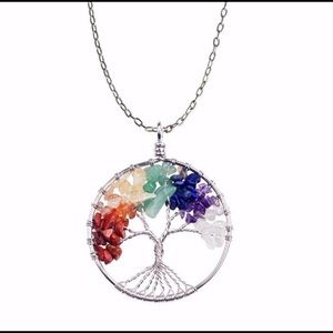 Tree of life necklace with 7 chakra healing stones