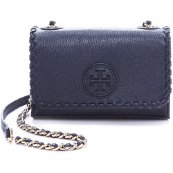 f2446f4fb9a9 Tory Burch marion shrunken shoulder bag navy blue
