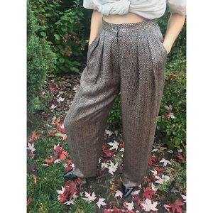 [vintage] 100% silk taupe/black wide leg trousers