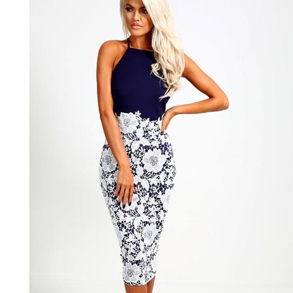 Valentina Navy and White Lace Midi Dress Size 8 0e26459cb
