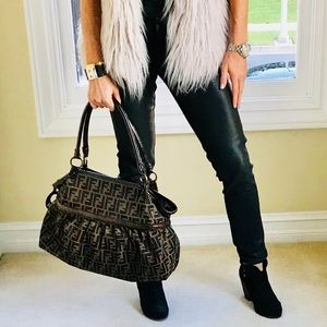 Authentic Fendi Zucca brown shoulder bag.