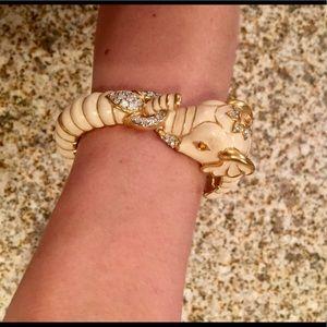 Kenneth Jay Lane White Elephant Enamel Bracelet