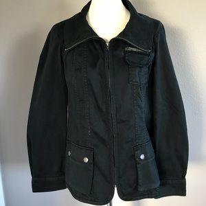 Comfortable Fit Black Zipper Jacket Women's Large