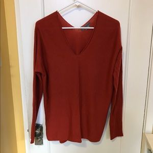 VINCE Double V Neck Wool Cashmere Sweater Sz M