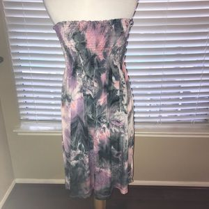 Dresses & Skirts - Pink, black, and white tie dye strapless dress.