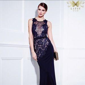 Lipsy VIP Navy Lace Maxi Dress