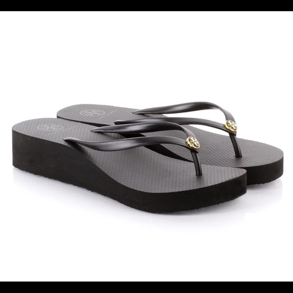 163feaeb4fb19 Tory Burch Black Wedge Flip Flops
