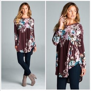 Tops - Floral Plum Babydoll Tunic Blouse with Curved Hem