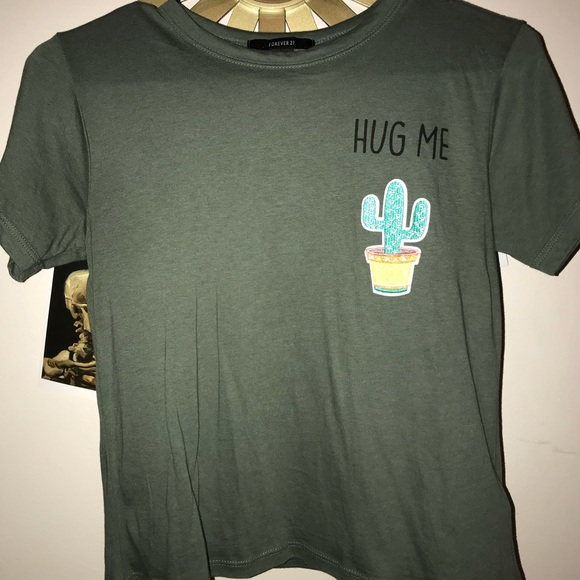e6a09ce204b Forever 21 Tops - Green color hug me cacti graphic tee