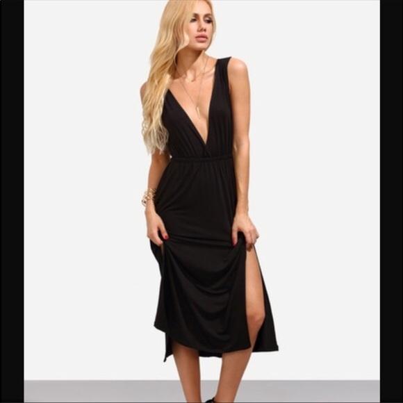 f08ed830d0e3 Dresses | Black Plunge Vneck Midi Dress | Poshmark