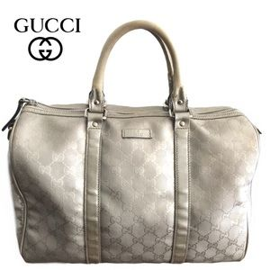Gucci Silver GG Coated Canvas Large Joy Boston Bag