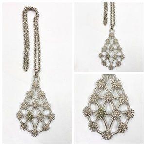 Vintage Crown Trifari Large Silver Necklace