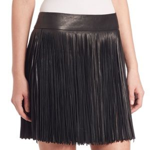 Ralph Lauren Leather Fringe Skirt