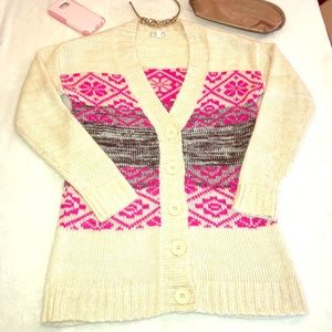 Eyeshadow button up sweater v neck long fit small