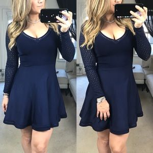 DVF long sleeve navy knit dress Fit& Flare