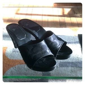 Coach size 7 Brenda all black leather canvas clogs