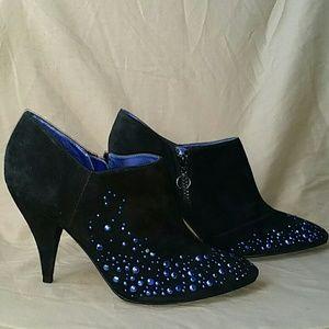 Black suede booties w/electric blue rhinestones