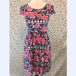Anthropologie Maeve Peralta Birds Dress Blue Pink