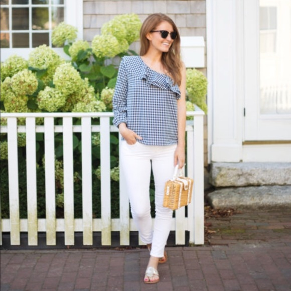 J. Crew Tops - J. Crew • Gingham One Shoulder Top