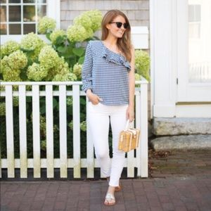 J. Crew • Gingham One Shoulder Top