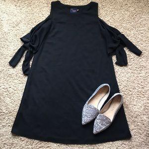 Just Taylor Black Cold Shoulder Tie Dress