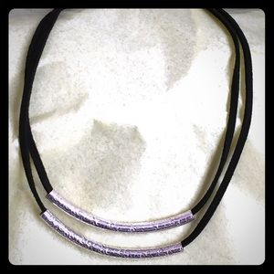 Jewelry - Two strand sterling silver/suede necklace