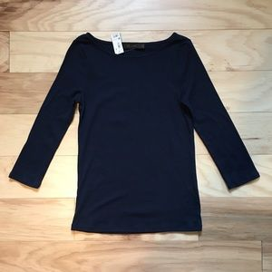 Limited Boat Neck 3/4 Sleeve Tee NWT   M   Navy