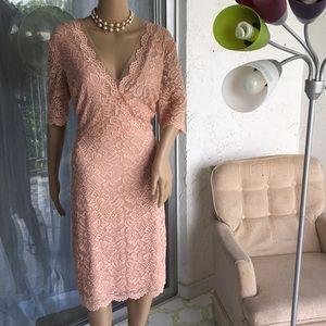 Ivanka Trump Pink Short Sleeve Lace Dress Sz 14