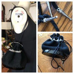 VTG Black MACRAME Lucite Draw String Shoulder Bag