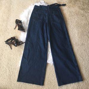Zara women's high waisted full leg denim pants