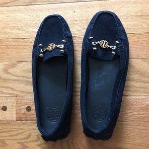 Tory Burch navy moccassins