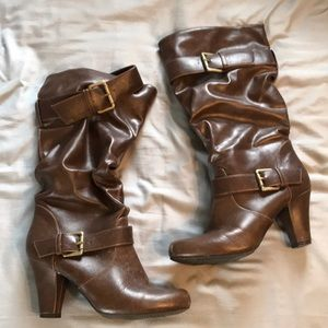 Brown mid calf heeled bootie Target