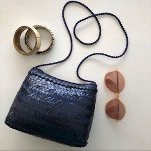 Vintage navy blue woven crossbody purse