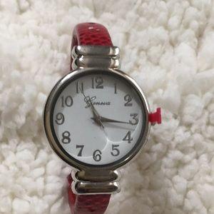New Geneva leather ladies red watch