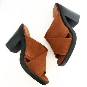 Urban Outfitters Tan Leather Chunky Heeled Sandals
