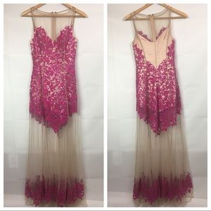Bebe pink sequin mesh romper formal dress
