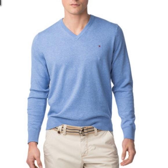 Tommy Hilfiger Sweater Womens  Pullover V-neck Sweatshirt  Lit Blue XXL