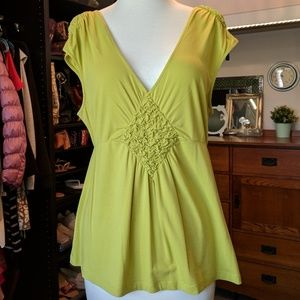 Anthropologie Deletta Lime Top Bubble Smocking Med