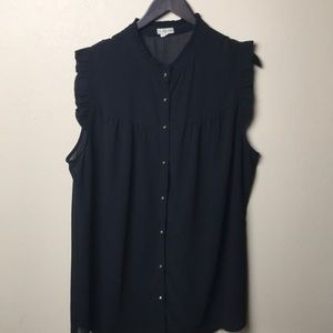 {Nordstrom- Lily White} Sheer Sleeveless Button Up
