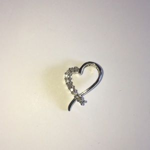 Jewelry - 14K White Gold 1/5TCW Diamond Heart Pendant Charm