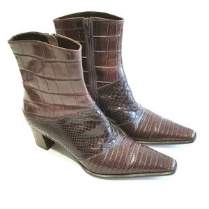 Via Spiga Mixed Reptile Embossed Leather Boots Sz6