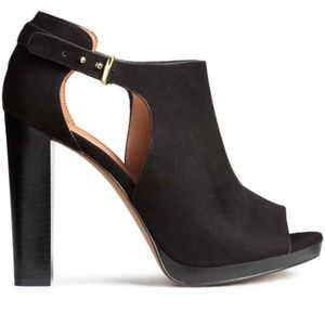 H&M Faux Suede Peep Toe Booties Ankle Strap