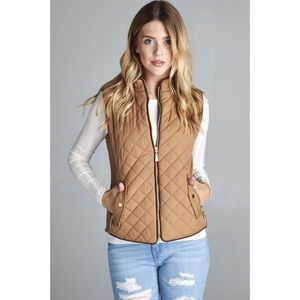 Faux Shearling Lined Quilted Padded Vest-CAMEL