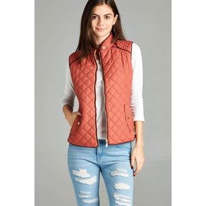 Quilted Padded Vest-DUSTY PINK