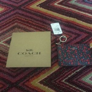 Coach Floral Ranch Gusset Key Pouch NWT