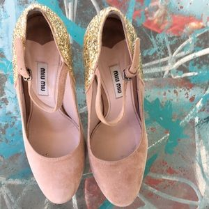 Miu Miu Buff Platform Mary Janes With Glitter Heel