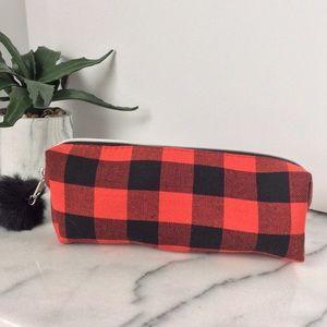 Handbags - Red & Black Buffalo Plaid Makeup Bag NWT