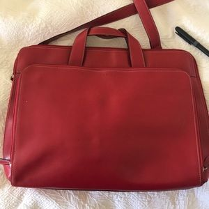 Red Leather Lodis Laptop Bag