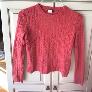J. crew cable knit salmon sweater Sz S