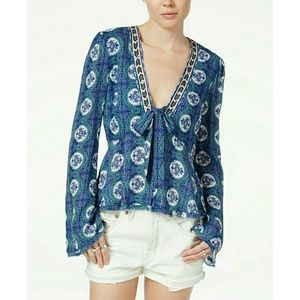 New! Free People V-neck Tie-front Bell Sleeve Top